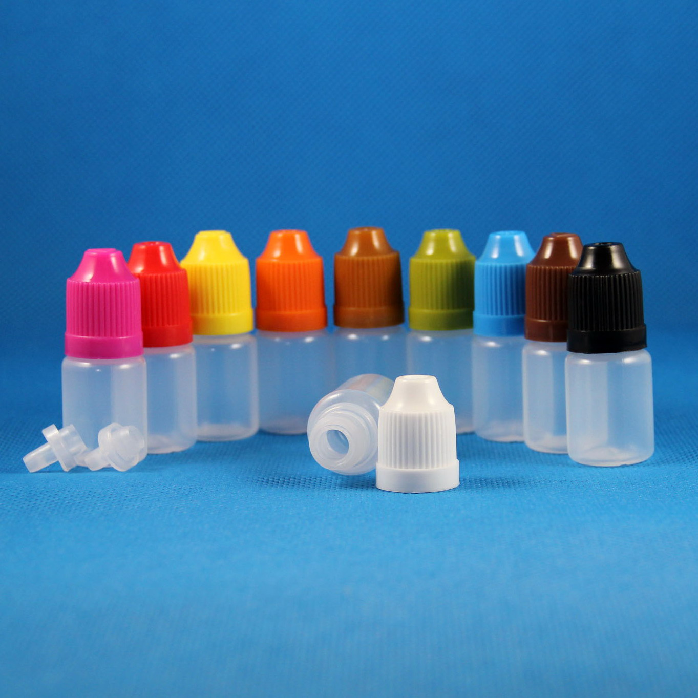 Lot 100 5ml 1/6 OZ LDPE CHILD PROOF Plastic Dropper Bottles