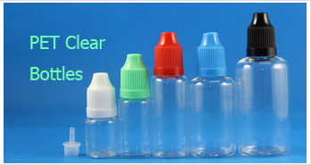 PET Clear Dropper Bottles With Colored Lids